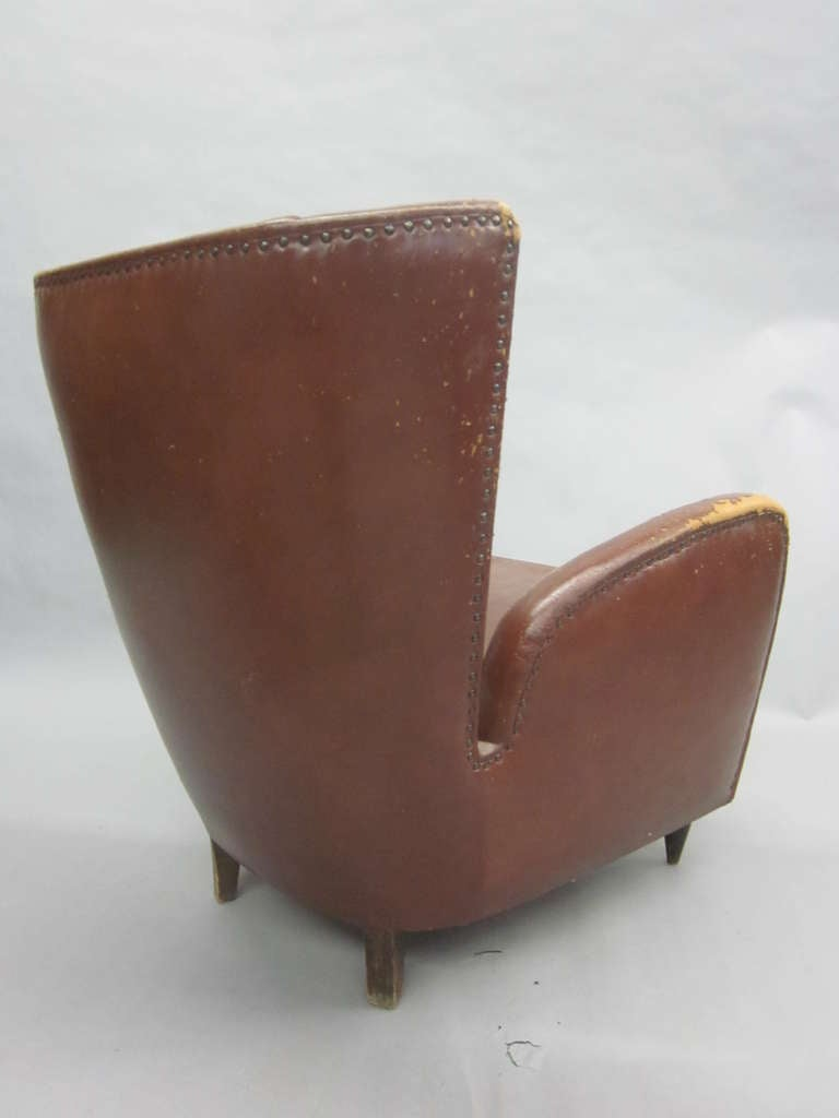 Pair Of Italian Mid Century Modern Wingback Lounge Chairs