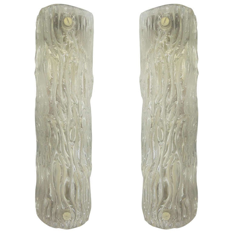 Pair of Large Murano Glass Wall Lights Attributed to Carlo Scarpa for Venini