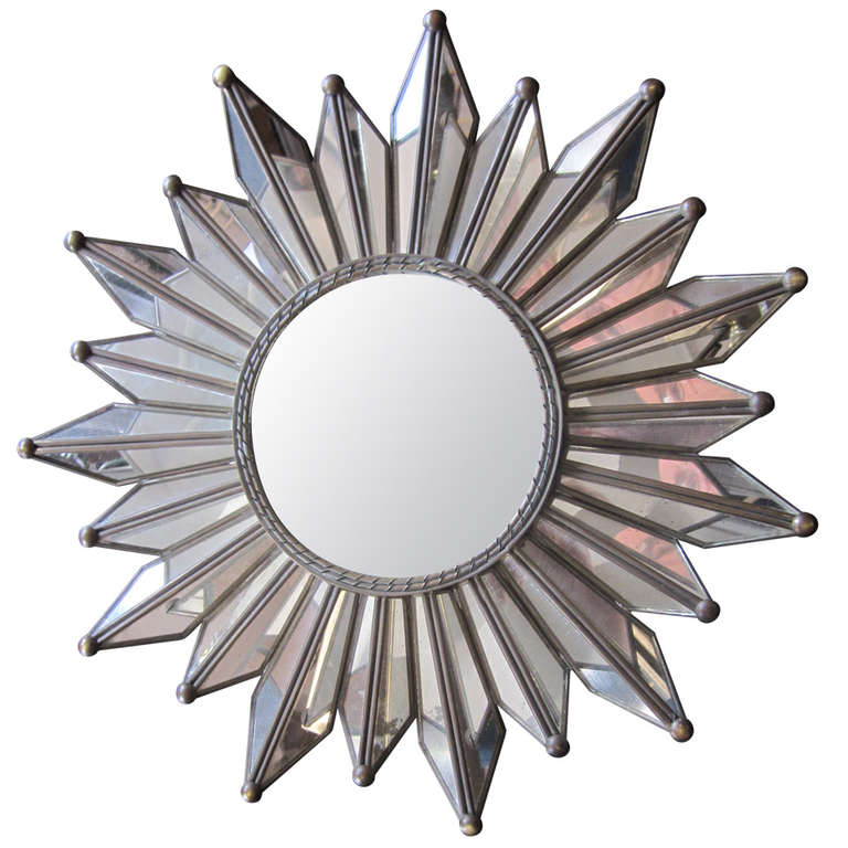 French Mid-Century Modern Neoclassical Mirrored Sunburst / Starburst Mirror For Sale