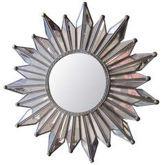 French Mid-Century Modern Neoclassical Mirrored Sunburst / Starburst Mirror