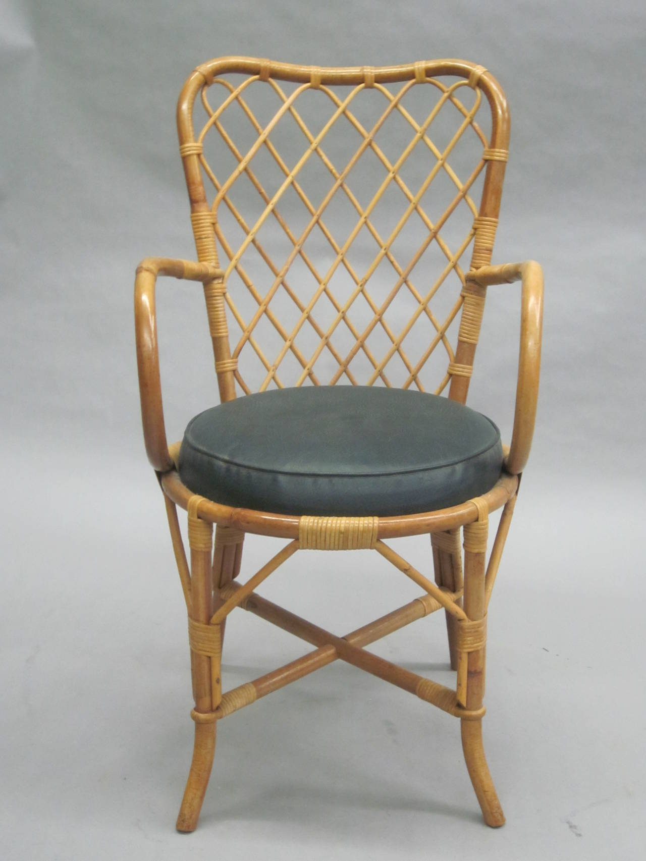 Two French Mid-Century Rattan Side or Desk Chairs Attributed to Jean Royère 2