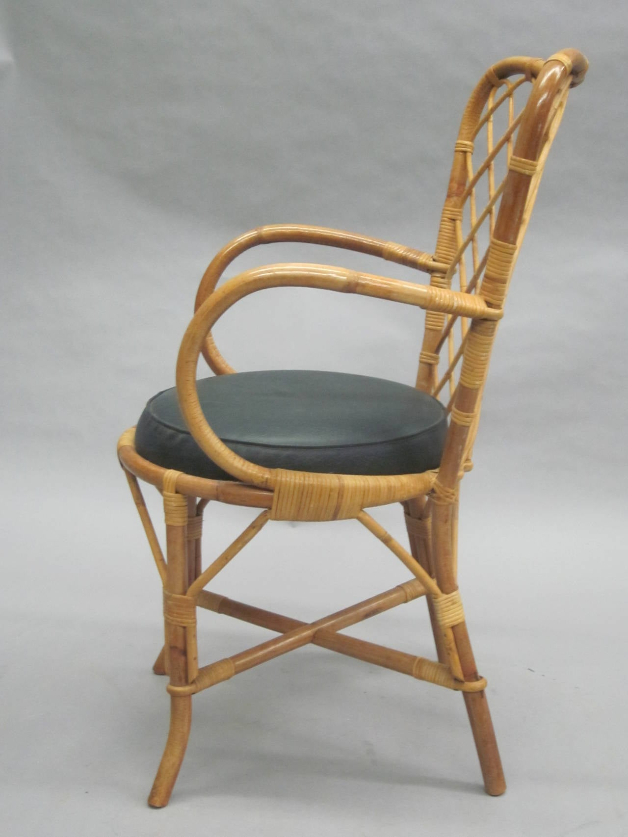 Two French Mid-Century Rattan Side or Desk Chairs Attributed to Jean Royère 3