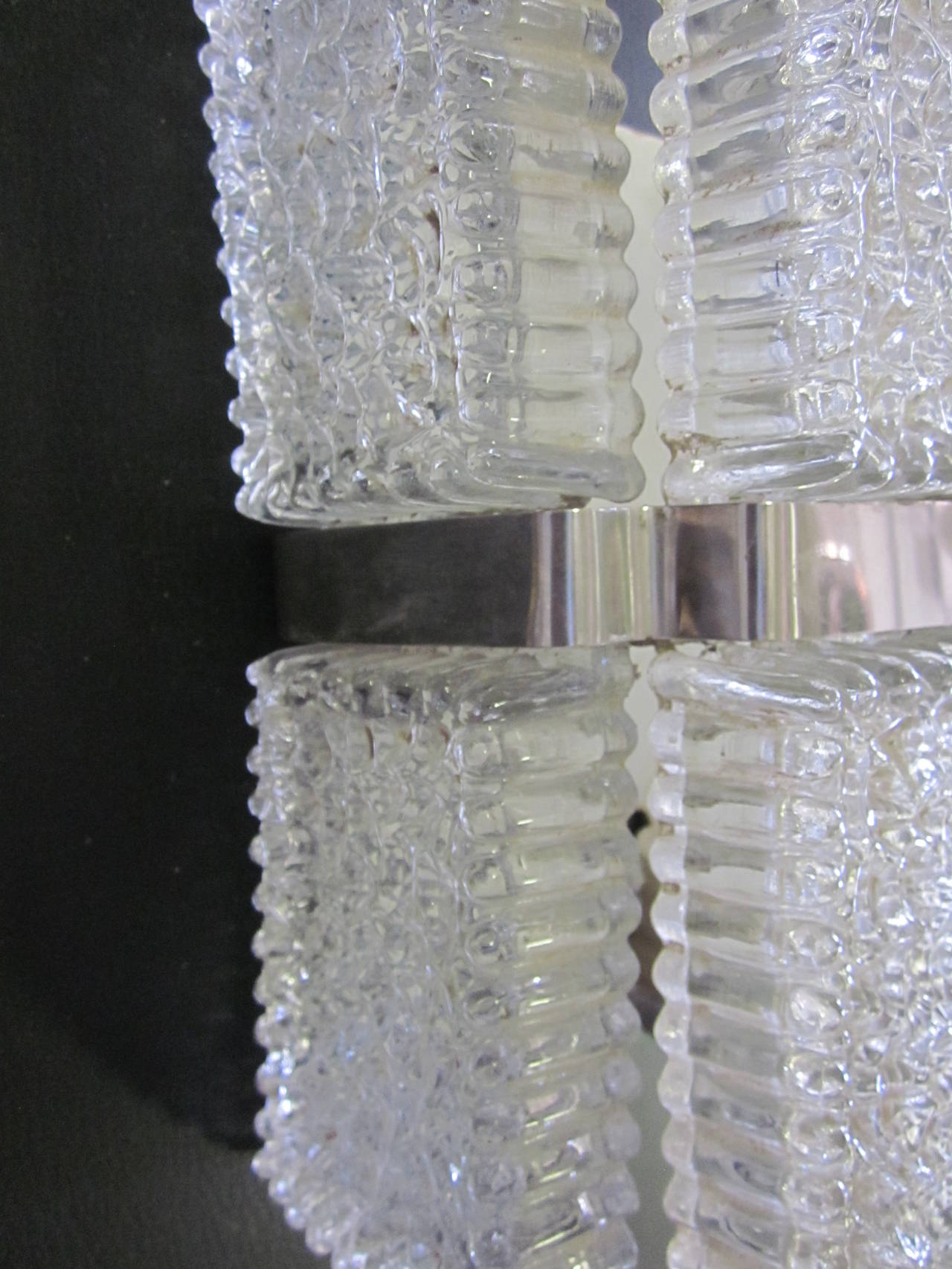 Pair of Italian Mid-Century Venetian / Murano Glass Wall Sconces For Sale 1