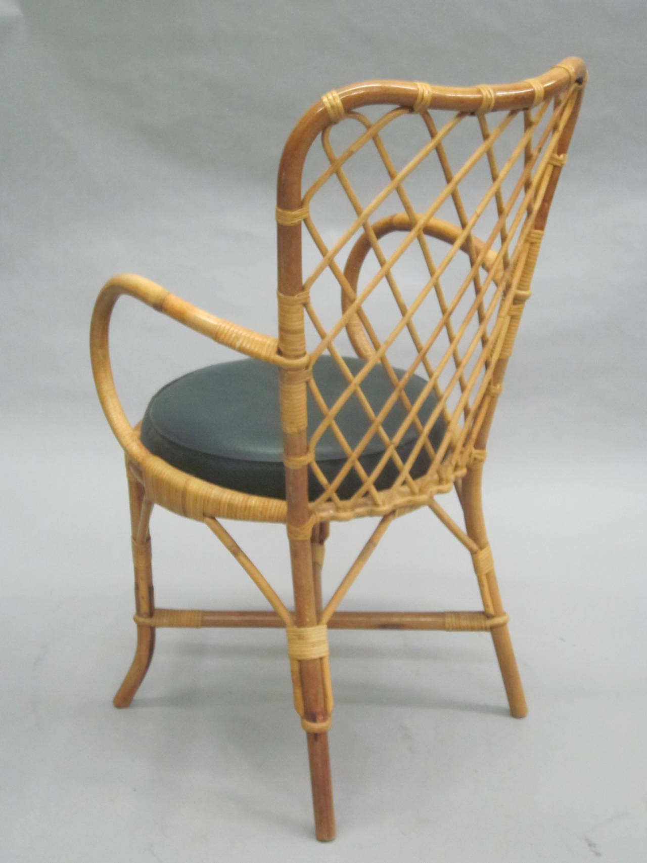 Two French Mid-Century Rattan Side or Desk Chairs Attributed to Jean Royère 4
