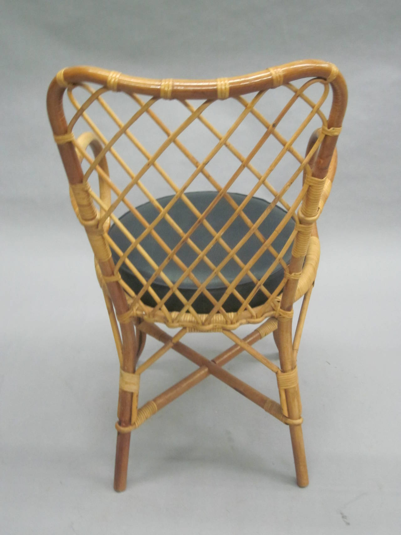 Two French Mid-Century Rattan Side or Desk Chairs Attributed to Jean Royère 6