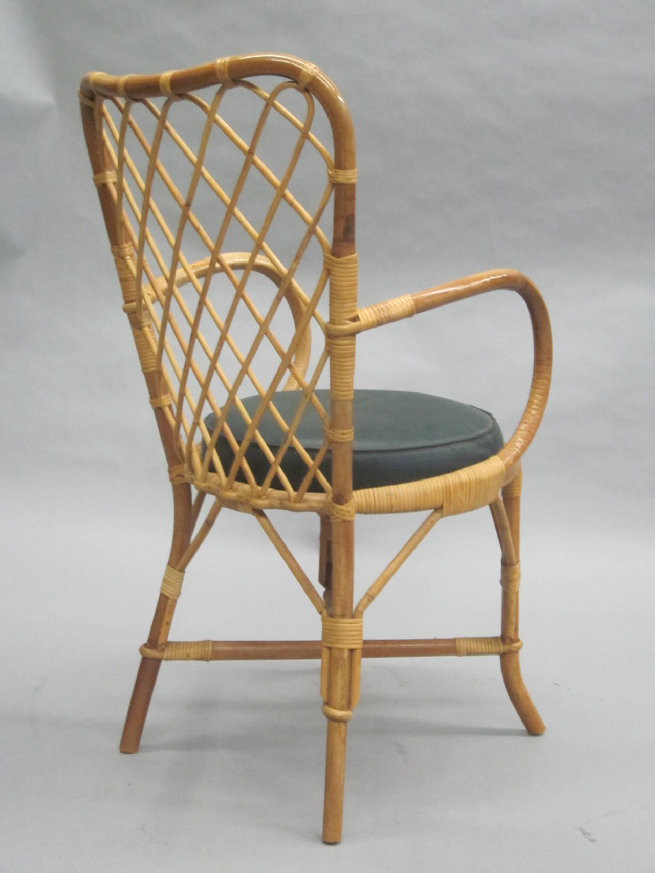 Two French Mid-Century Rattan Side or Desk Chairs Attributed to Jean Royère 5
