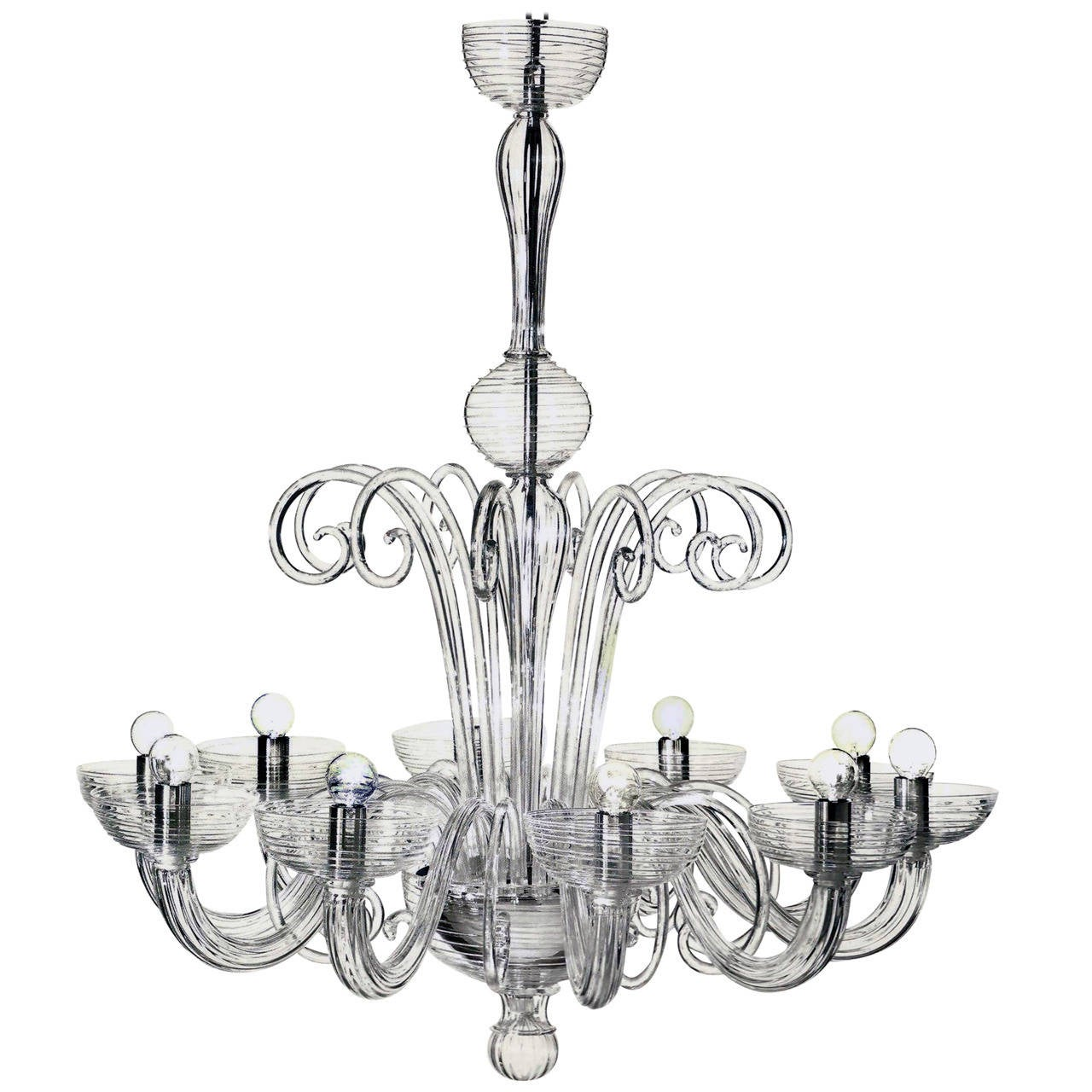 Two Italian Mid-Century Style Clear Murano / Venetian Glass Ten-Arm Chandeliers For Sale