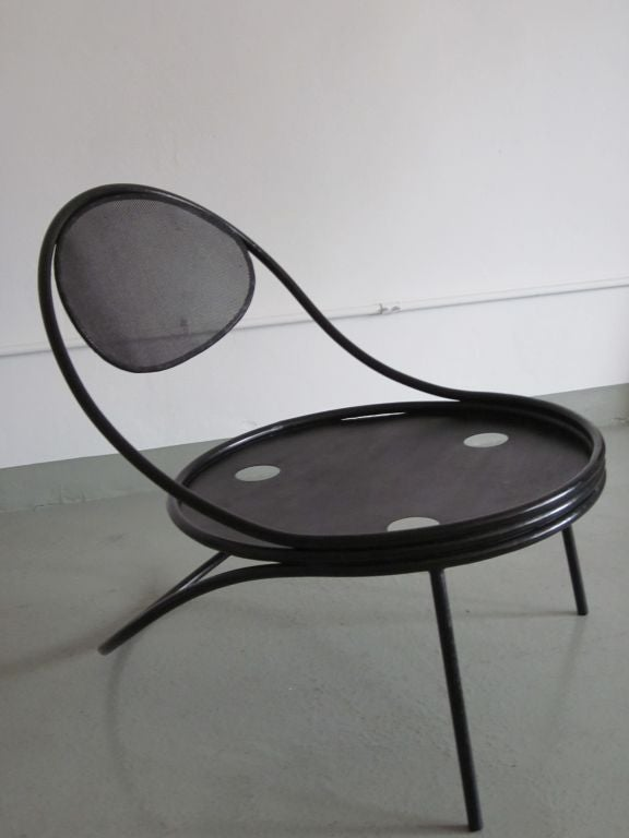 Pair French Mid-Century Modern Iron 'Copacabana' Chairs, by Mathieu Matégot 1950 In Good Condition For Sale In New York, NY