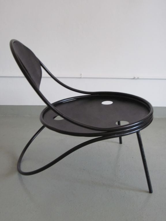 Mid-20th Century Pair French Mid-Century Modern Iron 'Copacabana' Chairs, by Mathieu Matégot 1950 For Sale