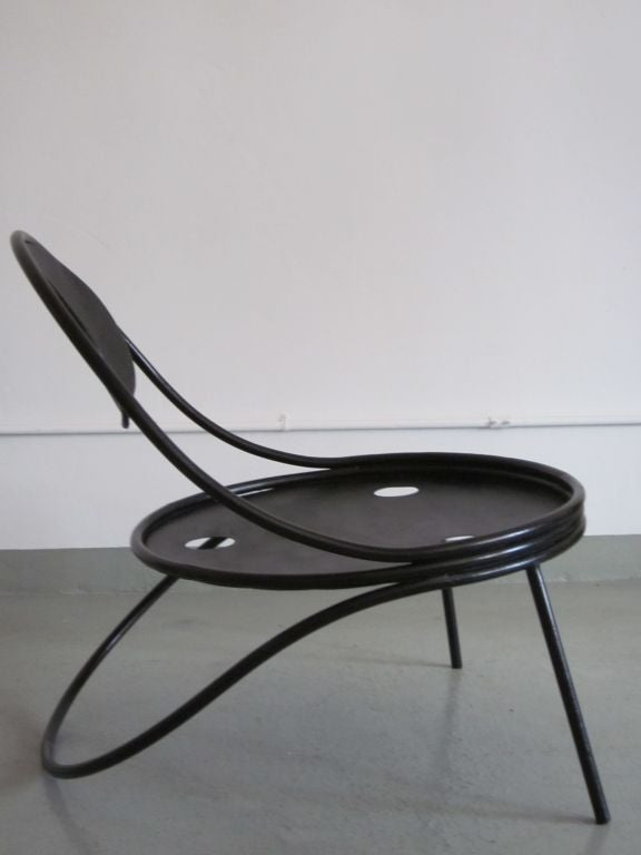 Pair French Mid-Century Modern Iron 'Copacabana' Chairs, by Mathieu Matégot 1950 For Sale 1