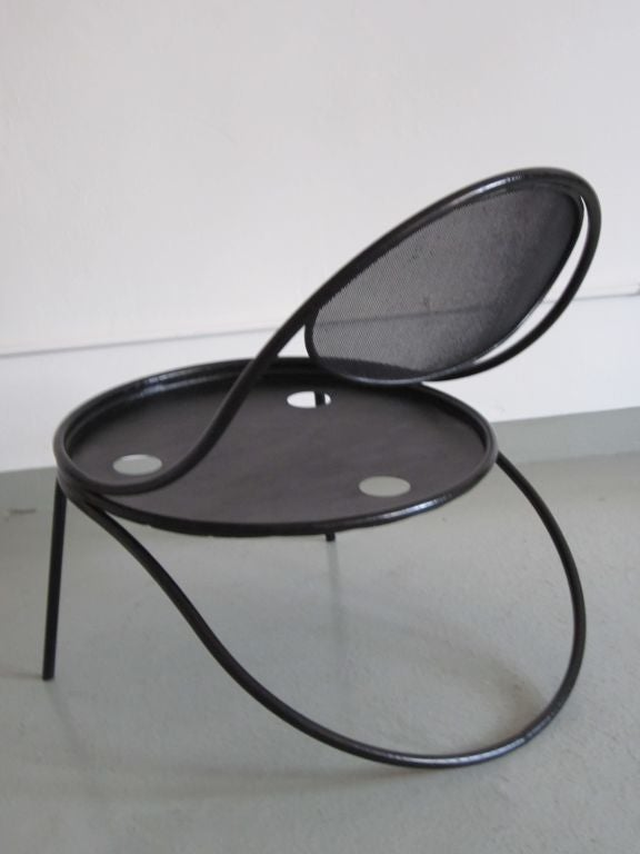 Pair French Mid-Century Modern Iron 'Copacabana' Chairs, by Mathieu Matégot 1950 For Sale 3