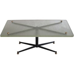Italian Mid-Century Modern Coffee Table with Sand Cast Glass Top by Sergio Mazza