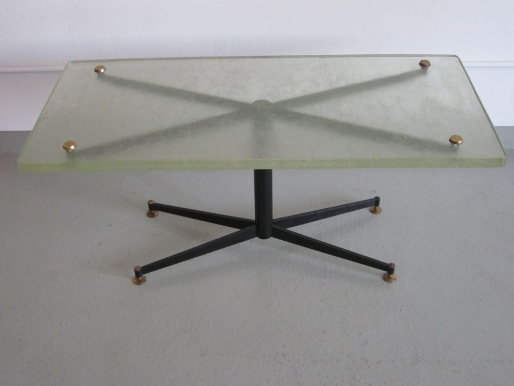 Italian Mid-Century Modern Coffee Table with Sand Cast Glass Top by Sergio Mazza 2