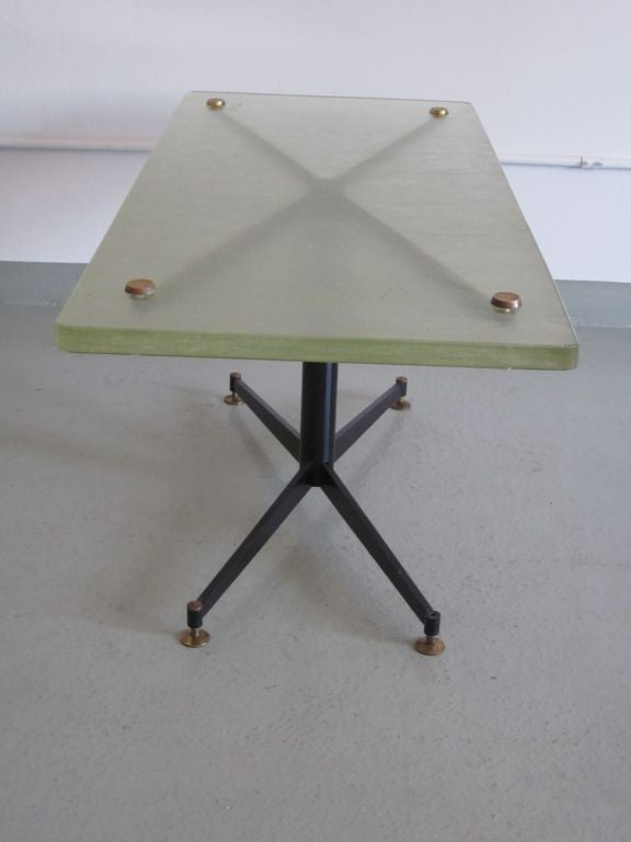 Italian Mid-Century Modern Coffee Table with Sand Cast Glass Top by Sergio Mazza 4