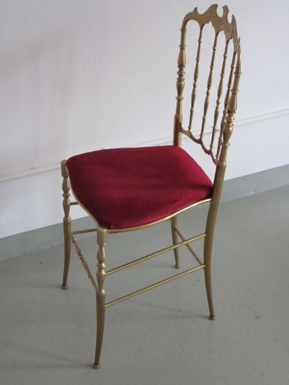 2 Solid Brass Italian Mid-Century Modern 'Chiavari' Vanity / Desk / Side Chair In Good Condition For Sale In New York, NY