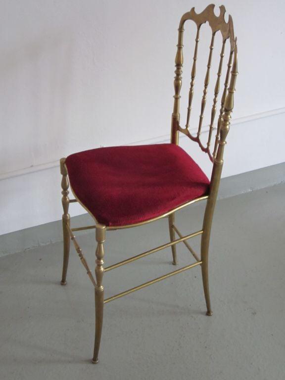 2 Solid Brass Italian Mid-Century Modern 'Chiavari' Vanity / Desk / Side Chair 3