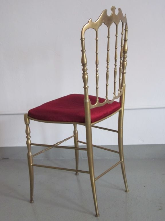 Mid-20th Century 2 Solid Brass Italian Mid-Century Modern 'Chiavari' Vanity / Desk / Side Chair For Sale