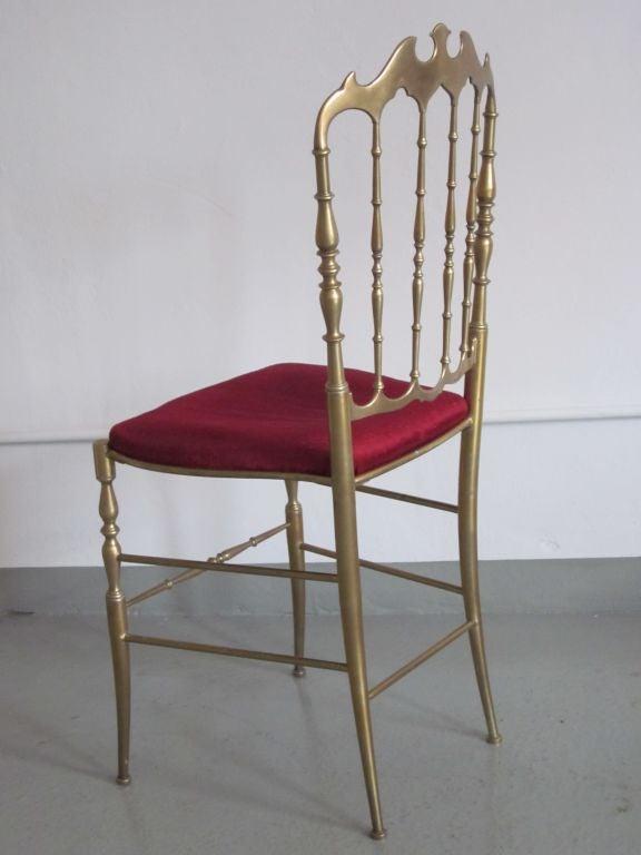2 Solid Brass Italian Mid-Century Modern 'Chiavari' Vanity / Desk / Side Chair 4
