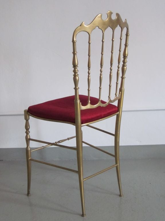 2 Solid Brass Italian Mid-Century Modern 'Chiavari' Vanity / Desk / Side Chair For Sale 1