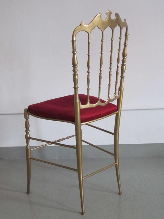 2 Solid Brass Italian Mid-Century Modern 'Chiavari' Vanity / Desk / Side Chair 5