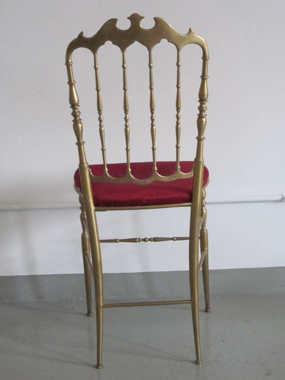 2 Solid Brass Italian Mid-Century Modern 'Chiavari' Vanity / Desk / Side Chair For Sale 2