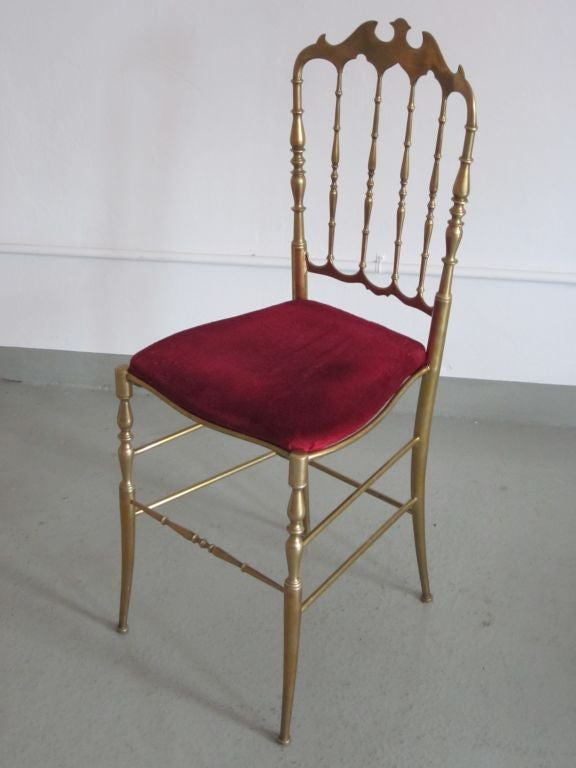 2 Solid Brass Italian Mid-Century Modern 'Chiavari' Vanity / Desk / Side Chair For Sale 3