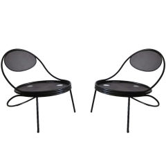Pair French Mid-Century Modern Iron 'Copacabana' Chairs, by Mathieu Matégot 1950
