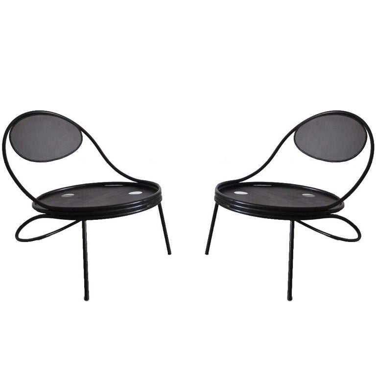 Pair French Mid-Century Modern Iron 'Copacabana' Chairs, by Mathieu Matégot 1950 For Sale