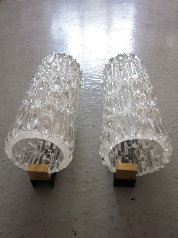 Mid-20th Century Pair of Italian Murano Glass Sconces For Sale