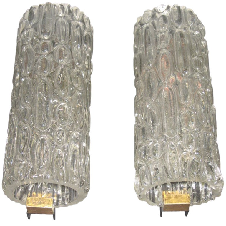 Pair of Italian Murano Glass Sconces For Sale