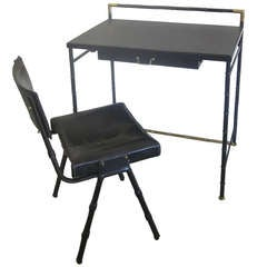 French Leather and Faux Bamboo Desk and Chair by Jacques Adnet
