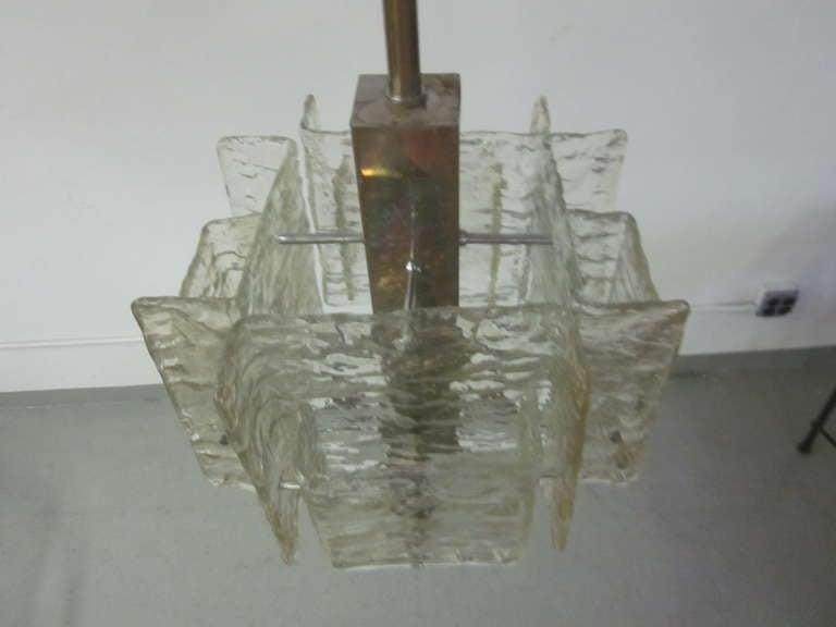 Murano Glass Italian Mid-Century Modern Murano / Venetian Ice Glass Chandelier / Pendant For Sale