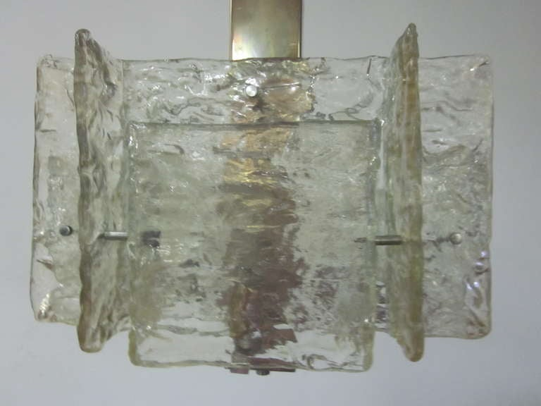 Italian Mid-Century Modern Murano / Venetian Ice Glass Chandelier / Pendant For Sale 1
