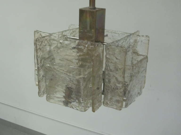 20th Century Italian Mid-Century Modern Murano / Venetian Ice Glass Chandelier / Pendant For Sale