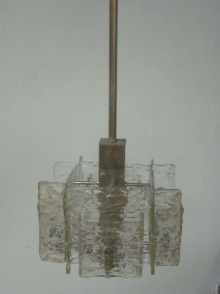 Italian Mid-Century Modern Murano / Venetian Ice Glass Chandelier / Pendant In Good Condition For Sale In New York, NY