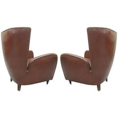 Pair of Italian Wingback Lounge Chairs Attributed to Paolo Buffa