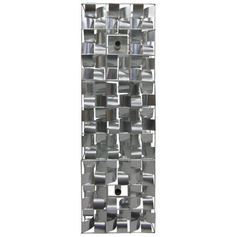 Rare French Mid-Century Modern floor / wall light sconce sculpture by Max Sauze (France, 1933).  Sauze's three-part lighted sculpture is a poetic composition of a handmade stainless steel frame and curved aluminum strands internally illuminated to