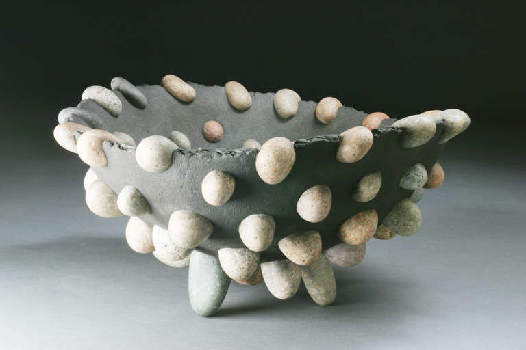 Brutalist Stone Modern Craftsman Bowl by Don Moss For Sale