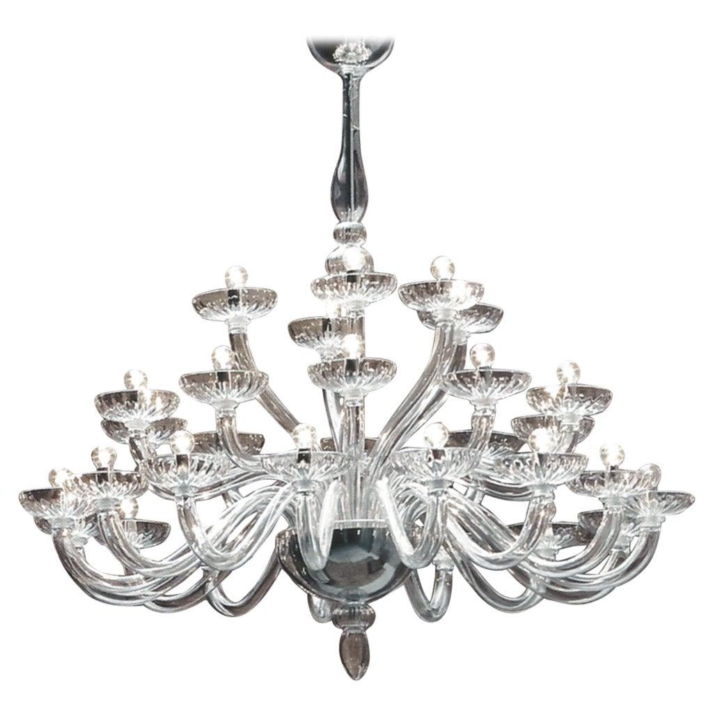 Monumental Italian Triple Tier 30 Arm Clear Murano / Venetian Glass Chandelier For Sale