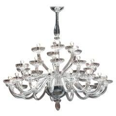 Monumental Italian Triple Tier 30 Arm Clear Murano / Venetian Glass Chandelier