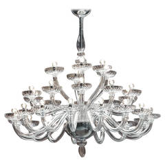 Large Triple Tier Clear Murano Glass Chandelier