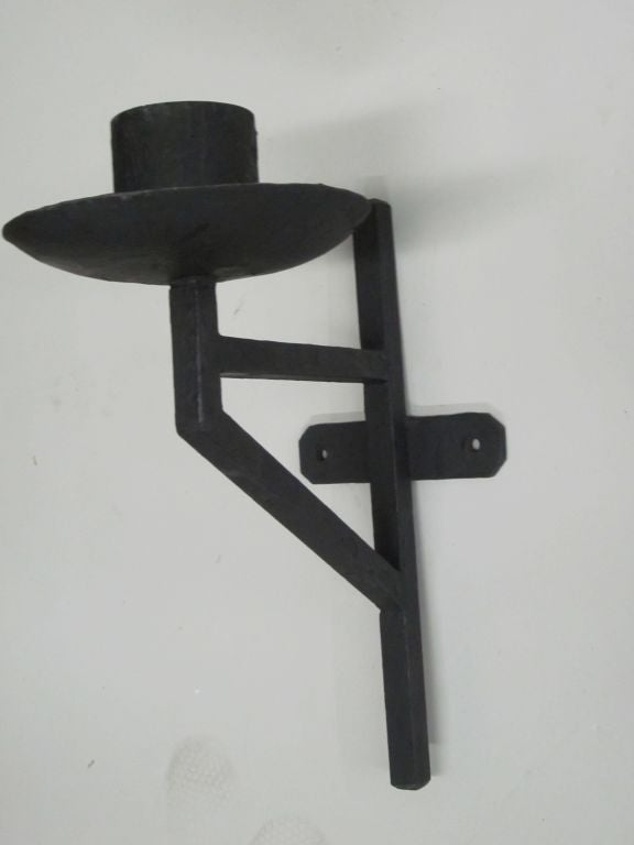 Pair of French Wrought Iron Sconces in the Style of Marc DuPlantier In Good Condition For Sale In New York, NY