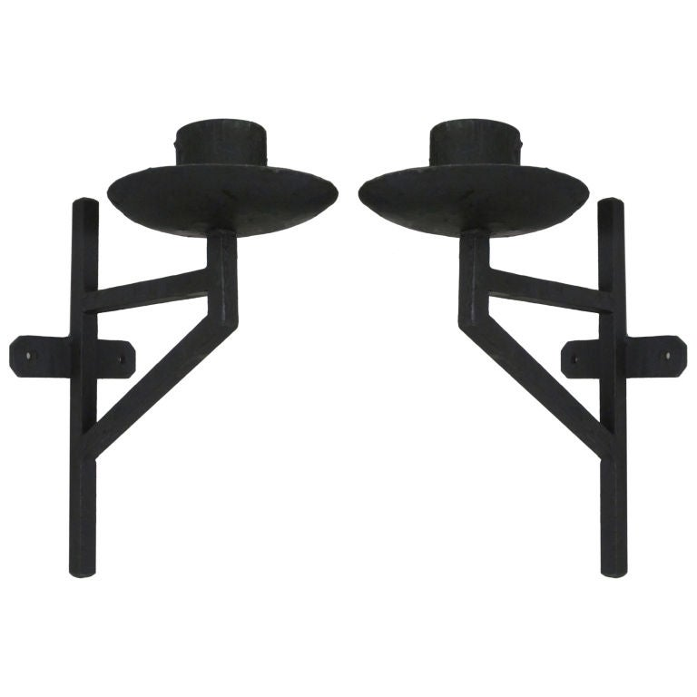 Pair of French Wrought Iron Sconces in the Style of Marc DuPlantier For Sale