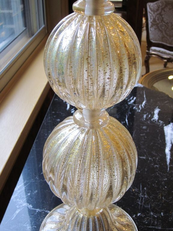 Pair of Italian Mid-Century Modern Style Murano / Venetian Glass Table Lamps In Excellent Condition For Sale In New York, NY