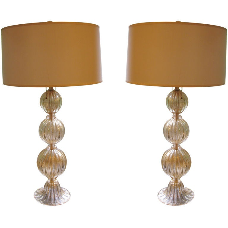 Pair of Italian Mid-Century Modern Style Murano / Venetian Glass Table Lamps
