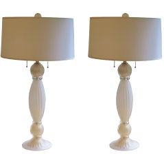 Pair of Italian White and Gold Murano Glass Table Lamps