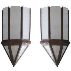 Three Large French Art Deco Sconces