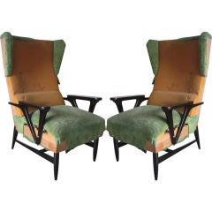 Pair of Italian Mid-Century Modern Wingback Lounge Chairs Attr. Carlo Mollino