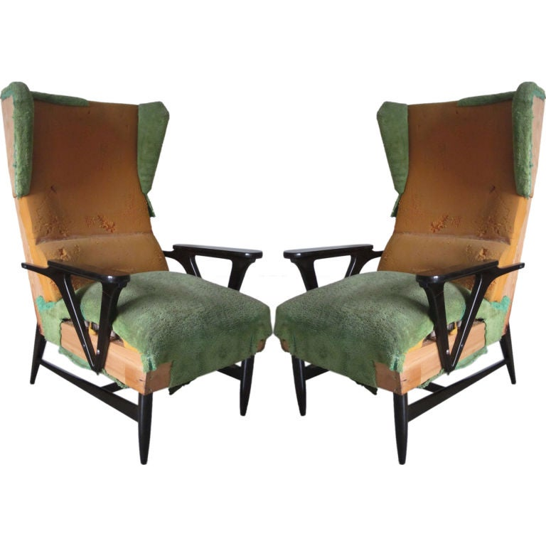 Pair of Italian Mid-Century Modern Wingback Lounge Chairs Attr. Carlo Mollino For Sale