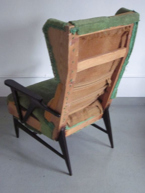 Wood Pair of Italian Mid-Century Modern Wingback Lounge Chairs Attr. Carlo Mollino For Sale